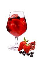 Superfruit Sangria - The Superfruit Sangria drink is made from VeeV acai spirit, red wine, pomegranate juice and cranberry juice, and served in a brandy snifter.