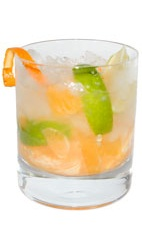 Tangerine Caipirinha - The Tangerine Caipirinha is made from cachaca, tangerine, lime and sugar, and served in an old-fashioned glass.