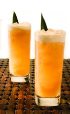 Tropi Cana - The Tropi Cana drink is made from cachaca, amaretto, pineapple juice, guava nectar, lime juice and cinnamon, and served in a highball glass.