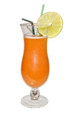 Tropical Storm - The Tropical Storm drink is made from rum, guava juice and mango fruit, and served in a hurricane glass.