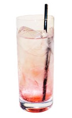 Vampiress - The Vampiress drink is made form gin, tonic water and grenadine, and served in a highball glass.