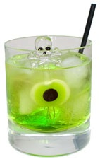 Witches Brew - The Witches Brew drink is made from rum, Midori melon liqueur and club soda, and served in an old-fashioned glass.