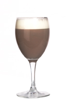 After Ski Relaxer - The After Ski Relaxer drink is made from creme de menthe, cognac and hot cocoa, and served in a white wine glass.