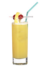 Amsterdam - The Amsterdam drink is made from gin, triple sec and orange juice, and served in a highball glass.