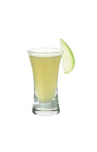 Grand Apple - The Grand Apple shot is made from Grand Marnier Rouge, apple vodka and lime mix, and served in a shot glass.