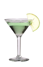 Apple Martini - The Apple Martini cocktail is made from vanilla vodka and Sourz Apple, and served in a cocktail glass.