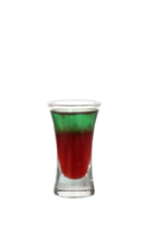 Back on Track - The Back on Track shot is made from vodka, blueberry juice and Pisang Ambon, and served in a shot glass.