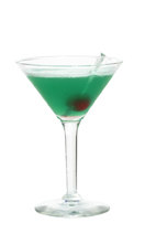 Badminton - The Badminton cocktail is made from gin, Midori Melon Liqueur, blue curacao and fresh lemon juice, and served in a cocktail glass.