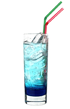 Blue Boat - The Blue Boat drink is made from vanilla vodka, Sourz Tropical Blue and lemon-lime soda, and is served in a highball glass.