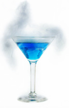 Blue Ice - The Blue Ice cocktail is made from vodka, blue curacao and lime juice, and served in a cocktail glass. To add the fog, use a little dry ice. Warning: if you use dry ice, make sure that it fully sublimates prior to drinking.