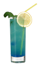 Blue Job - The Blue Job drink is made from gin, blue curacao and grapefruit juice, and served in a highball glass.