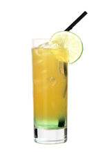 Brazilian Sunrise - The Brazilian Sunrise drink is made from vanilla vodka, Sourz Apple and orange soda, and served in a highball glass.