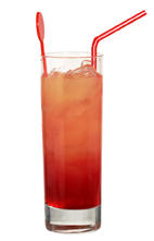 Canaria - The Canaria drink is made from white rum, creme de bananes, grenadine, orange juice and pineapple juice, and served in a highball glass.