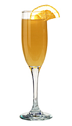 Champagne Napoléon - The Champagne Napoleon drink is made from Mandarine Napoleon, orange juice and champagne, and served in a champagne flute.