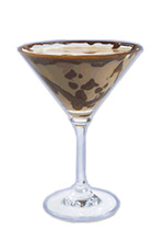 Choko Toffee Martini - The Choko Toffee Martini cocktail is made from Dooleys, vodka and a chocolate bar, and served in a cocktail glass.