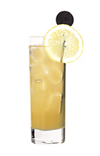 Kos Nightlife - The Kos Nightlife drink is made from vodka, creme de bananes, lemon soda (aka Fanta Lemon, or 7-Up/Sprite if not available) and peach juice, and served in a highball glass.