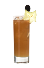 Dead Bull - The Dead Bull drink is made from Jaegermeister, Red Bull and orange juice, and served in a highball glass.