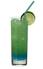 Ditchhiker - The Ditchhiker drink is made from blue curacao, peach liqueur, vodka, lemon-lime soda and orange juice, and served in a highball glass.