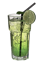 DJ - The DJ Drink is made from Bacardi Limon, Midori Melon Liqueur and lemon-lime soda, and served in a highball glass.