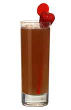 Equator - The Equator drink is made from gin, raspberry liqueur and passionfruit juice, and served in a highball glass.