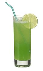 Finish This - The Finish This drink is made from vodka (aka Finlandia Vodka), lemon juice, orange juice and kiwi syrup, and served in a highball glass.