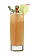 Flow - The Flow drink is made from white rum, lime sour mix, sugar syrup and passionfruit juice, and served in a highball glass.