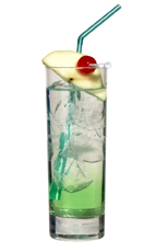 Foregreen - The Foregreen drink is made from Sourz Apple, vodka and lemon-lime soda, and served in a highball glass.