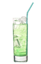 Green Demon - The Green Demon drink is made from Bacardi Limon, Pisang Ambon and lemon-lime soda, and served in a highball glass.