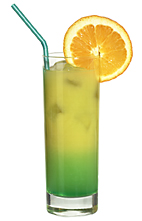 Green Orange - The Green Orange drink is made from citrus vodka (aka Absolut Citron), Pisang Ambon and orange juice, and served in a highball glass.