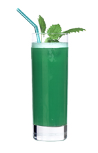 Green Parrot - The Green Parrot drink is made from vodka, white rum, dry vermouth, malibu, blue curacao, white creme de cacao and orange juice, and served in a highball glass.
