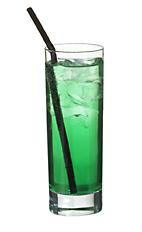 Green Elevation - The Green Elevation drink is made from gin, green curacao and apple soda, and served in a highball glass.