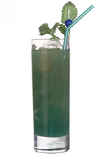 Green Bear - The Green Bear drink is made from vodka, blue curacao and orange juice, and served in a highball glass.