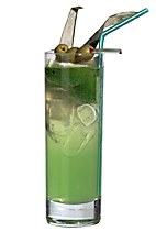 Havana Green - The Havana Green drink is made from light rum, Sourz Apple, Pisang Ambon, sour mix and tonic water, and served in a highball glass.