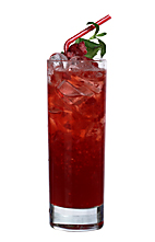 Havana Raspberry - The Havana Raspberry drink is made from light rum, raspberry liqueur, lemon juice, lemon-lime soda and raspberries, and served in a highball glass.
