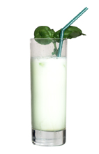 The Hulk - The Hulk drink is made from vodka, Midori Melon Liqueur and milk, and served in a highball glass.