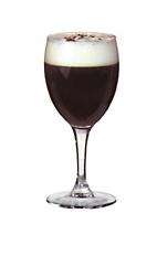 Irish Coffee - The Irish Coffee drink is made from Irish whiskey, brown sugar, hot coffee and whipped cream, and served in a white wine or Irish coffee glass.