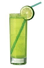 Kermit - The Kermit drink is made from vodka, Pisang Ambon, sour mix and lemon-lime soda, and served in a highball glass.