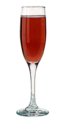 Kir Imperial - The Kir Imperial drink is made from champagne and raspberry liqueur, and served in a champagne flute.