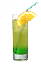 Midori Splice - The Midori Splice drink is made from Midori Melon Liqueur, Malibu Coconut Rum and pineapple juice, and served in a highball glass.