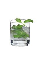 Mojito Lowball - The Mojito Lowball drink is made from light rum, club soda, mint, lime juice and sugar syrup, and served in an old-fashioned glass.