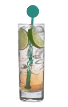 Peach Tonic - The Peach Tonic drink is made from Sourz Peach, tonic water and lime wedges, and served in a highball glass.