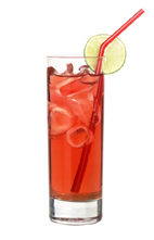 Red Cosmo - The Red Cosmo drink is made from citrus vodka (aka Absolut Citron), Cointreau, Red Bull, lime juice and cranberry juice, and served in a highball glass.