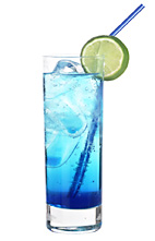 Smurf - The Smurf drink is made from strawberry vodka, blue curacao, lime juice and lemon-lime soda, and served in a highball glass.