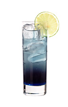 Summer Passion - The Summer Passion drink is made from Cointreau, Passoa, blue curacao, lime juice and lemon-lime soda, and served in a highball glass.