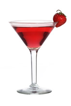 Strawberry Martini - The Strawberry Martini cocktail is made from gin, dry vermouth and strawberry syrup, and served in a cocktail glass.