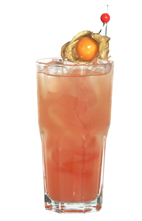 Summer Breeze - The Summer Breeze drink is made from lime vodka, Passoa and passion fruit juice, and served in a highball glass.