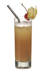 Summer Delight - The Summer Delight drink is made from vodka, strawberry liqueur, Roses lime, oregeat syrup and pineapple juice, and served in a highball glass.