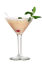 Picture of Summer Queen. The Summer Queen cocktail is made from blueberry liqueur, Grand Marnier Rouge, Dooleys (or Baileys Irish Cream), monin coconut syrup (or Malibu Coconut Rum) and strawberries, and served in a cocktail glass.