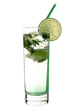 Suspicious Larsson - The Suspicious Larsson drink is made from vodka, Sourz Apple, club soda, lime and lemon balm, and served in a highball glass.
