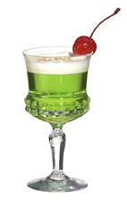 Sweet Vodka - The Sweet Vodka cocktail is made from vodka, creme de bananes and Midori Melon Liqueur, and served in a cocktail glass.